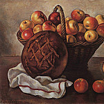 Zinaida Serebryakova - Still Life with apples and a round bread
