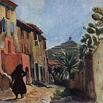 Zinaida Serebryakova - Collioure. A street with a palm tree