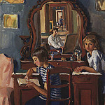 Zinaida Serebryakova - Tata and Katya. At the mirror