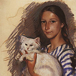 Portrait of Natasha Lancere with a cat, Zinaida Serebryakova