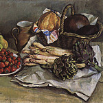 Still life with asparagus and strawberries, Zinaida Serebryakova