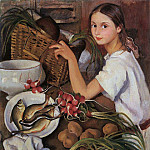 Tata with vegetables, Zinaida Serebryakova