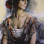 Portrait of V. K. Ivanova in a Spanish women suit, Zinaida Serebryakova