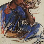 Zinaida Serebryakova - Thoughtful man in blue. Marrakesh