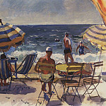 Zinaida Serebryakova - Menton. Beach with umbrellas