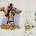 Sketches for the painting Whitening canvas, Zinaida Serebryakova