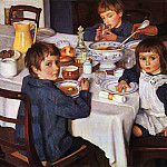 At breakfast, Zinaida Serebryakova