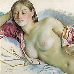 Lying Nude girl with cape cherry, Zinaida Serebryakova
