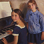 The girls at the piano, Zinaida Serebryakova