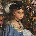 Katya in blue at the Christmas tree, Zinaida Serebryakova