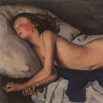 Sleeping girl on a blue. Katusha on a blanket, Zinaida Serebryakova