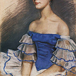 Portrait of E. N. Heidenreikh in blue, Zinaida Serebryakova