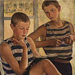 The boys in sailor s striped vest, Zinaida Serebryakova