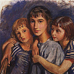 Self-portrait with her daughters, Zinaida Serebryakova
