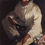 Pierrot. Self-portrait in costume Pierrot, Zinaida Serebryakova