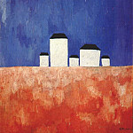 Kazimir Malevich - malevich_landscape_with_five_houses_c1932
