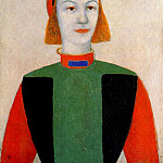 Pavel Fedotov - malevich_head_of_a_young_girl_of_today_1932