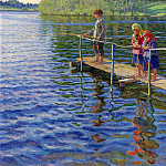 Fishing by the river, Nikolai Petrovich Bogdanov-Belsky
