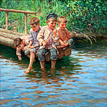 Four boys go fishing on the shore, Nikolai Petrovich Bogdanov-Belsky