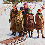 Children with a sled, Nikolai Petrovich Bogdanov-Belsky