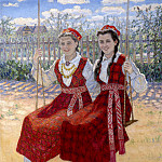 Two girls on a swing, Nikolai Petrovich Bogdanov-Belsky