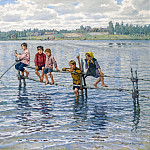 Children At A Lake In Lettgallia, Nikolai Petrovich Bogdanov-Belsky