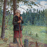 The girl in the woods, Nikolai Petrovich Bogdanov-Belsky