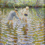 Young boys fishing for crayfish, Nikolai Petrovich Bogdanov-Belsky
