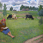 Girl reading in a meadow, Nikolai Petrovich Bogdanov-Belsky