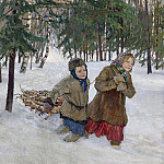 Trudging the logs in winter snow, Nikolai Petrovich Bogdanov-Belsky