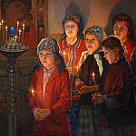 In the church, Nikolai Petrovich Bogdanov-Belsky
