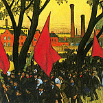 Boris Kustodiev - May Day Demostration at the putilov Plant