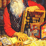 Boris Kustodiev - kustodiev_merchant_(old_man_counting_his_money)_1918