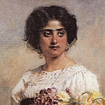 Konstantin Makovsky - Portrait of a girl with a bouquet (Serbian)