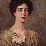 Konstantin Makovsky - Portrait of a young girl with a pink bow