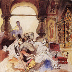 Konstantin Andreevich (1869-1939) Somov - The agents of Dmitry Pretender kill the son of Boris Godunov