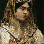 Konstantin Makovsky - Portrait of a girl in Russian costume