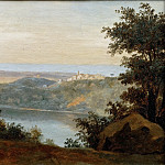 Part 5 Louvre - Pierre Henri de Valenciennes -- Lake Nemi: In the distance, the City of Genzano