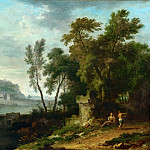 Part 5 Louvre - Jan van Huysum (1682-1749) -- Landscape with Figures, Ruins, and Bridge