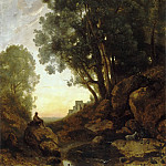 Part 5 Louvre - Jean-Baptiste-Camille Corot -- The Italian Goatherd. Effect of the Setting Sun.