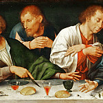 Part 5 Louvre - Joos van Cleve -- Retable of the Deposition, detail; predella, Last Supper