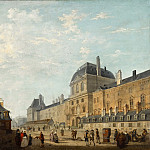 Philibert Louis Debucourt -- The facade of the Louvre from the Rue Fromenteau, Part 5 Louvre
