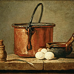 Jean-Siméon Chardin -- Tinned Copper Pot, Pepper Box, Leek, Three Eggs, and a Casserole on a Table, Part 5 Louvre