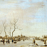 Part 5 Louvre - Adriaen van de Velde -- Frozen Canal (or River?) with Skaters and Hockey Players