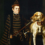 Antonis Mor -- The Dwarf of Cardinal Granvelle holding a large dog, Part 5 Louvre