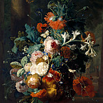 Part 5 Louvre - Jan Van Huysum -- Vase of Flowers in a Park with Statue