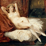 Study of a nude woman, sleeping on a divan, called 'The Woman of White Stockings', Ferdinand Victor Eugène Delacroix