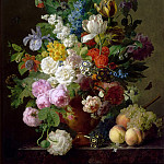 Jan Frans van Dael -- Vase of flowers, grapes and peaches, Part 5 Louvre