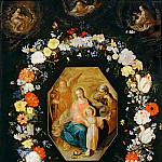 Part 5 Louvre - Frans Francken II -- Holy Family framed in a garland of flowers