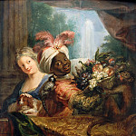 Part 5 Louvre - Antoine Coypel -- Young black woman holding a basket of fruit and a young woman petting a dog
